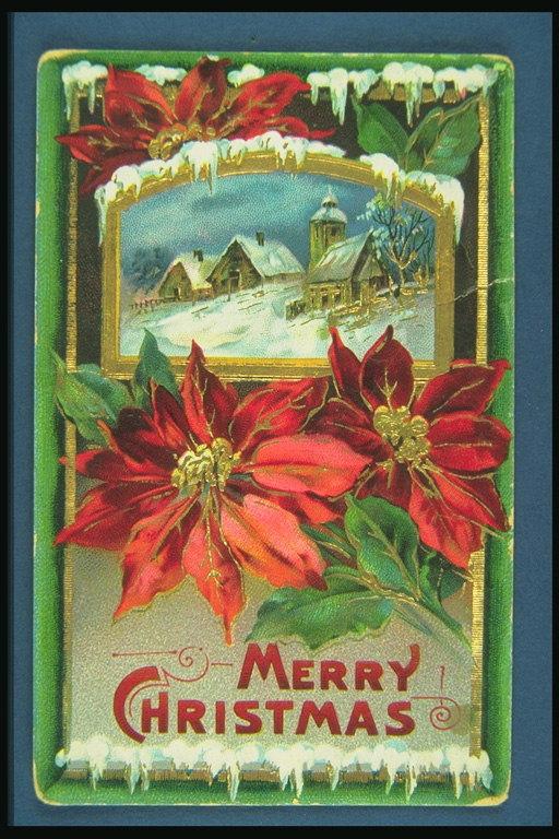 Tarjeta De Navidad Con Dibujos De Flores Rojas Y Casas De Distancia